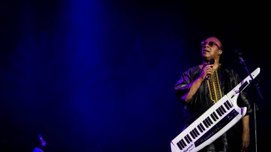 Stevie Wonder se apresenta em São Paulo durante Circuito Banco do Brasil, no Campo de Marte