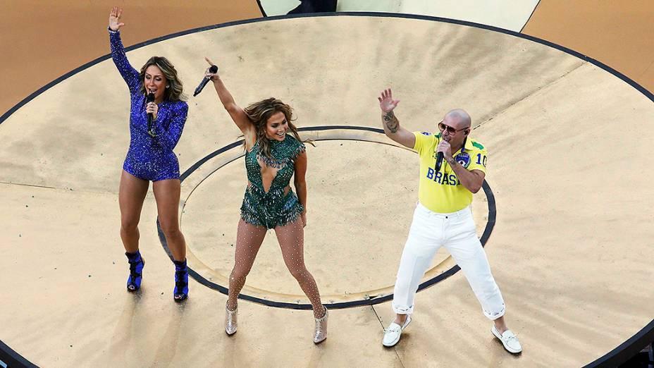 Claudia Leitte, Jennifer Lopez e Pitbull na abertura da Copa do Mundo