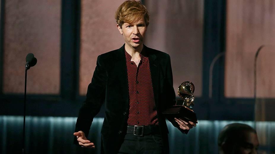 Beck, durante 57ª edição do Grammy, premiação que elege os melhores da música internacional, que acontece neste domingo (08)