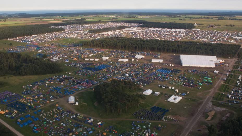 Vista aérea do 22º Acampamento Mundial Escoteiro, em Rinkaby, na Suécia