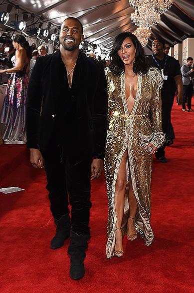 Kim Kardashian e Kanye West, durante a 57ª edição do Grammy, premiação que elege os melhores da música internacional, que acontece neste domingo (08)