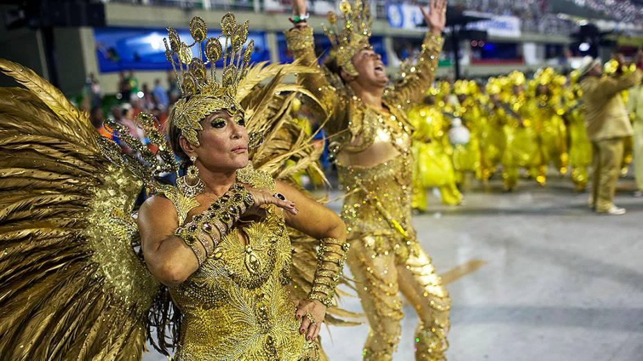 Susana Vieira e David Brazil, rainha e rei de bateria da Grande Rio