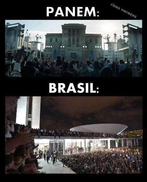 Montagem publicada na internet por fãs da saga Jogos Vorazes compara os protestos no Brasil com o início da revolução em Panem