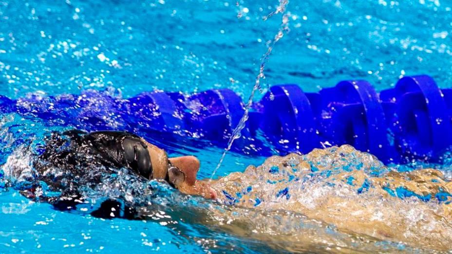 O nadador brasileiro César Cielo em treino no Centro Aquático