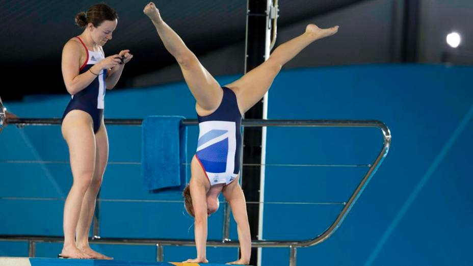 Treino de saltos ornamentais no Centro Aquático do Parque Olímpico de Londres 2012