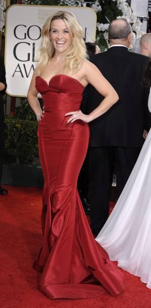 A atriz americana Reese Witherspoon, no Globo de Ouro 2012