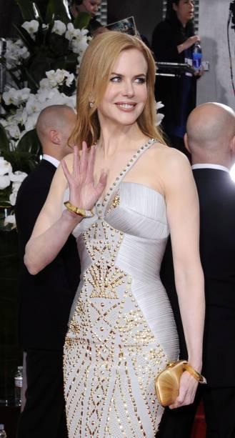 A atriz australiana Nicole Kidman, no Globo de Ouro 2012