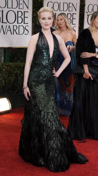 A atriz Evan Rachel Wood, no Globo de Ouro