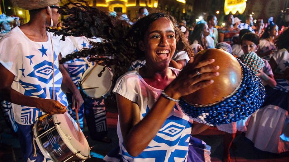 Batuqueiros no show de Naná Vasconcelos durante a abertura oficial do Carnaval do Recife