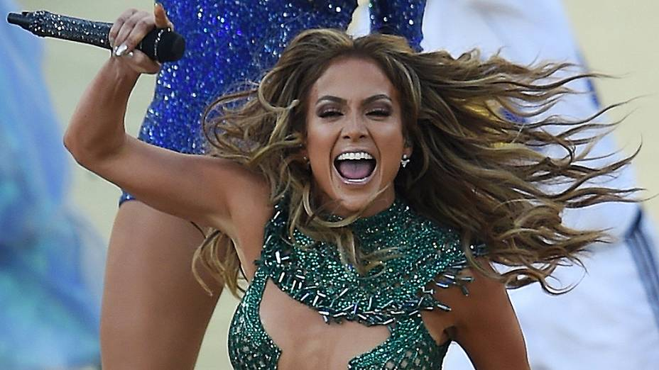 Jennifer Lopez na abertura da Copa do Mundo, em São Paulo