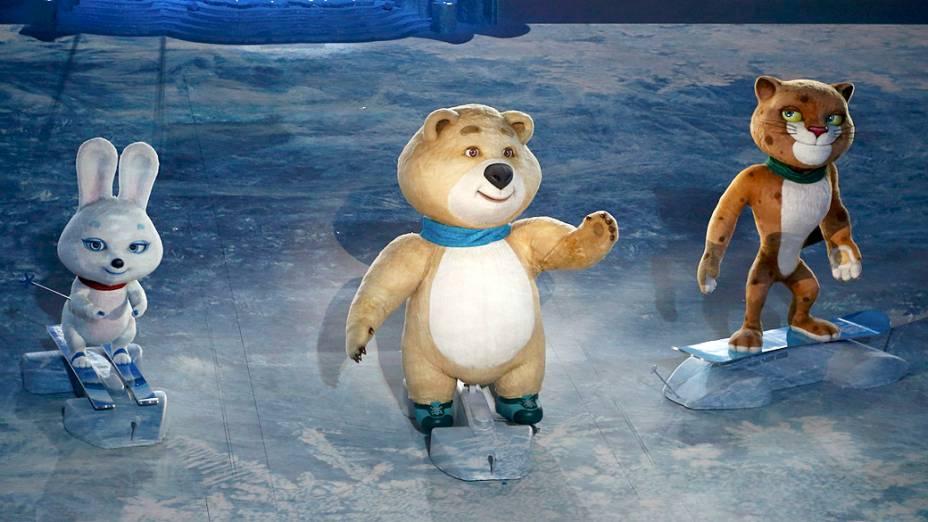 Lebre, urso e o leopardo são os mascotes dos Jogos de Inverno de Sochi