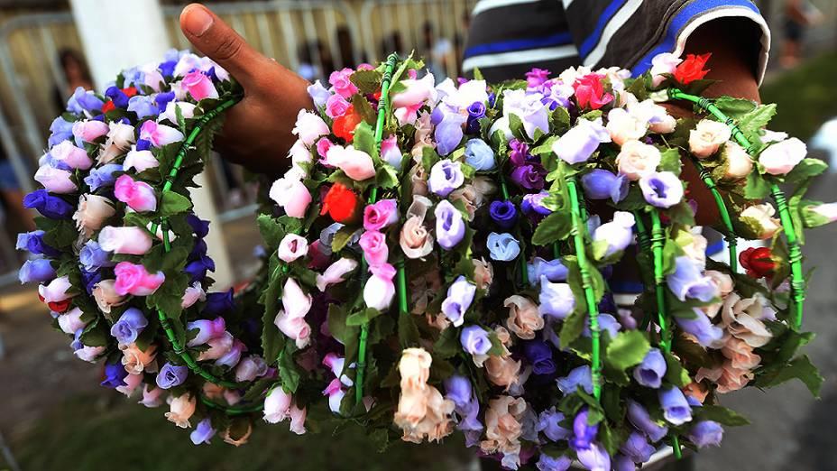 Coroas de flores foram vendidas nas entradas do Autódromo de Interlagos, em São Paulo
