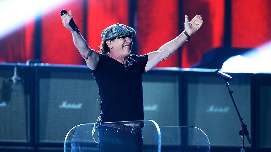 A banda AC/DC durante a 57ª edição do Grammy, premiação que elege os melhores da música internacional, que acontece neste domingo (08)