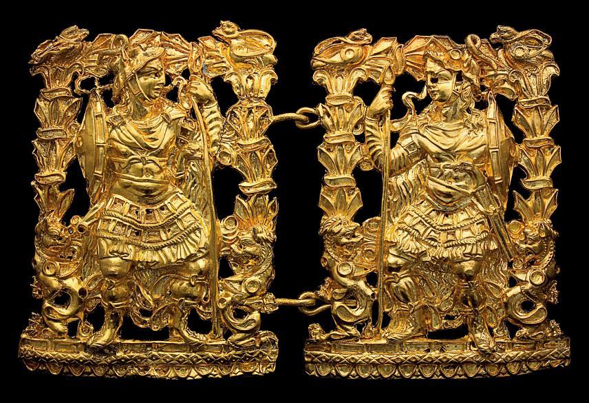 Ornamentos de ouro puro retratando guerreiros. Peça do Museu Nacional do Afeganistão