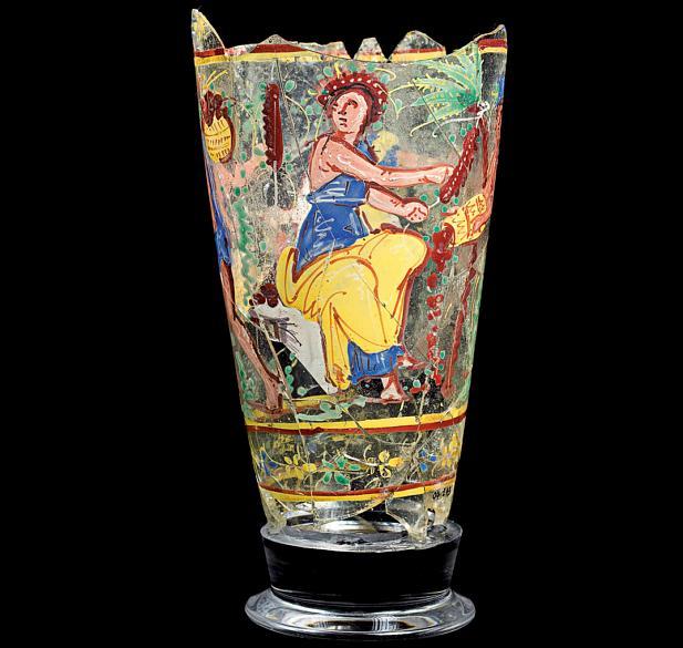 Vaso de vidro pintado, com cenas referentes à colheita