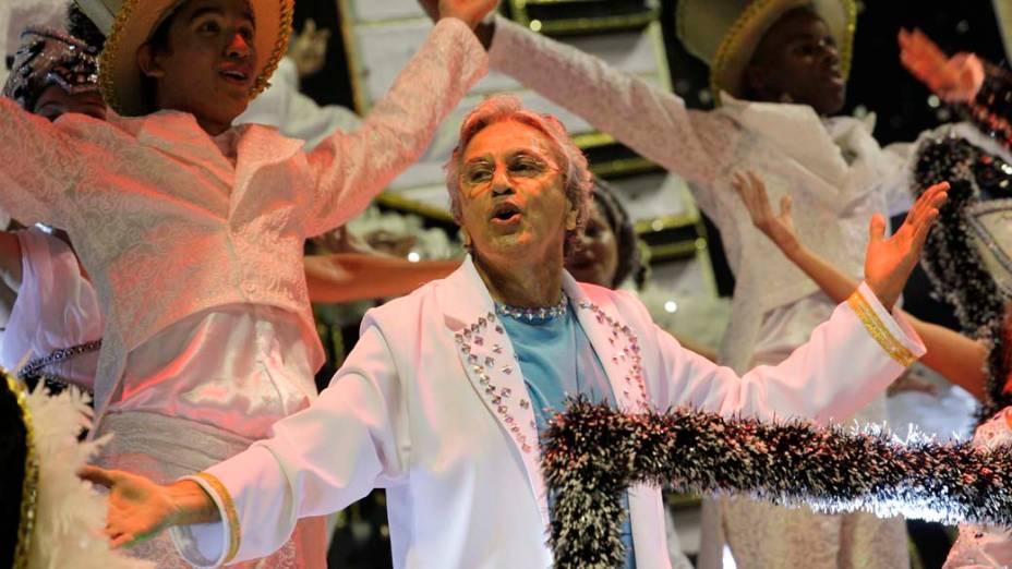 Caetano Veloso no desfile da Águia de Ouro, em São Paulo