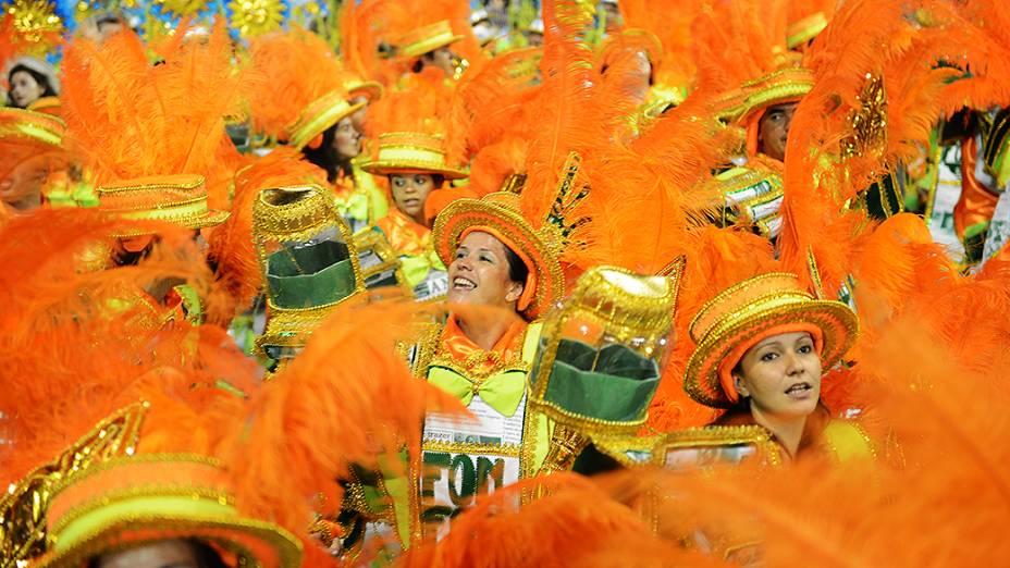 Desfile da Mancha Verde no sambódromo do Anhembi, em São Paulo
