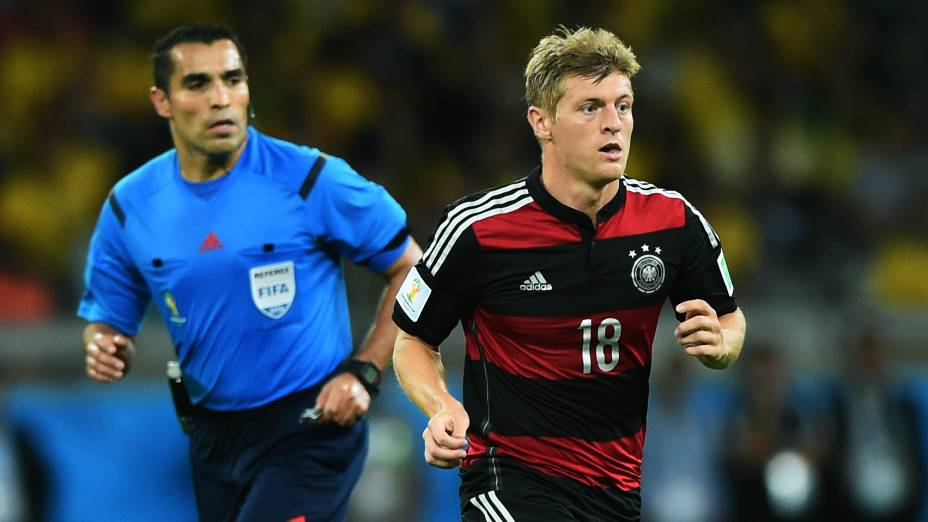O meia da seleção alemã Toni Kroos, autor de dois gols e eleito o melhor jogador em campo na goleada histórica sobre o Brasil, na semifinal da Copa do Mundo, no Mineirão