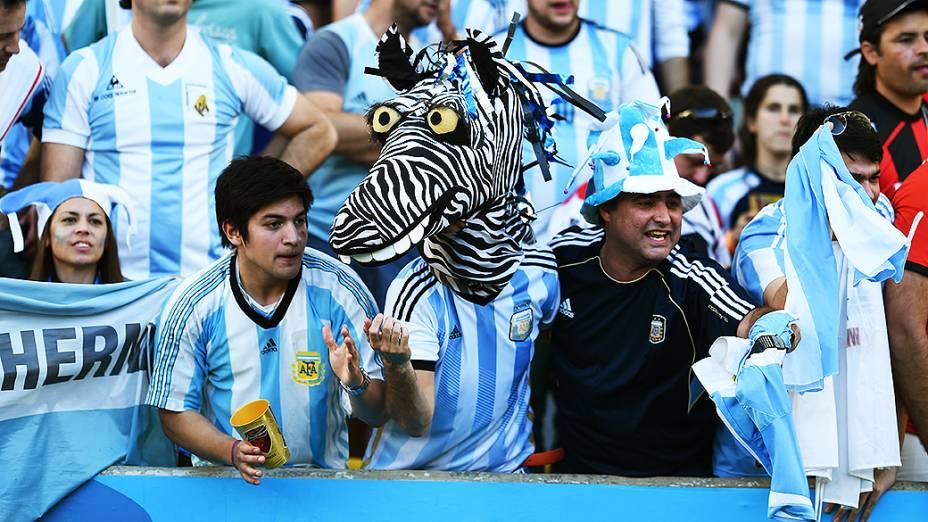 Torcedores da Argentina durante o jogo contra a Alemanha na final da Copa no Maracanã, no Rio