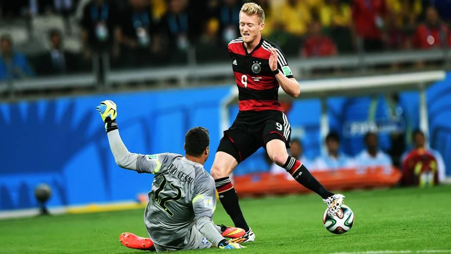 Os jogadores da seleção alemã na goleada histórica sobre o Brasil, na semifinal da Copa do Mundo, no Mineirão