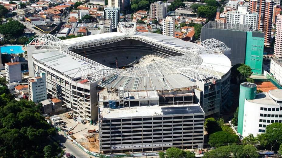 As obras no Allianz Parque, novo estádio do Palmeiras, em fevereiro de 2014