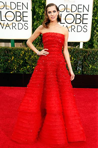 Allison Williams durante 72ª edição do Globo de Ouro, prêmio da associação de correspondentes de Hollywood que elege os melhores do cinema e da TV, em Los Angeles, nos EUA