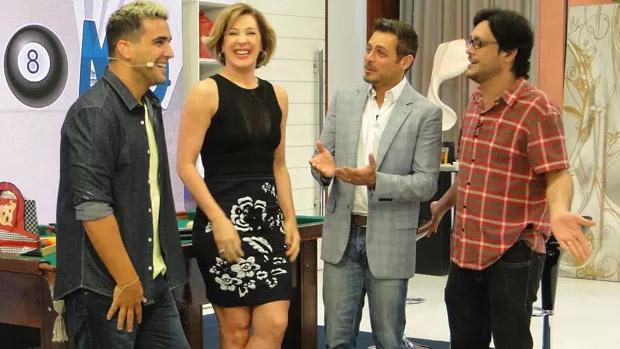 Além de Claudia Raia, André Marques recebeu osa tores Luigi Baricelli e Lúcio Mauro Filho para falar de relacionamento