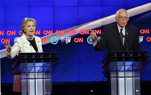 Debate entre os pré-candidatos democratas Hillary Clinton e Bernie Sanders, realizado em Nova York no dia 14 de abril