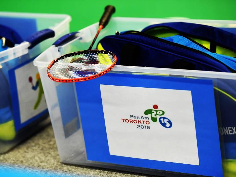 Raquete do time brasileiro de Badminton nos Jogos Pan-Americanos, em Toronto, Canadá
