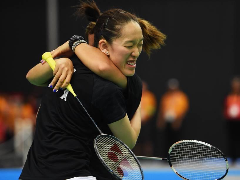 A dupla americana formada por Eva Lee e Paula Obanana vence a medalha de ouro na disputa feminina de Badminton nos Jogos Pan-Americanos, em Toronto, Canadá