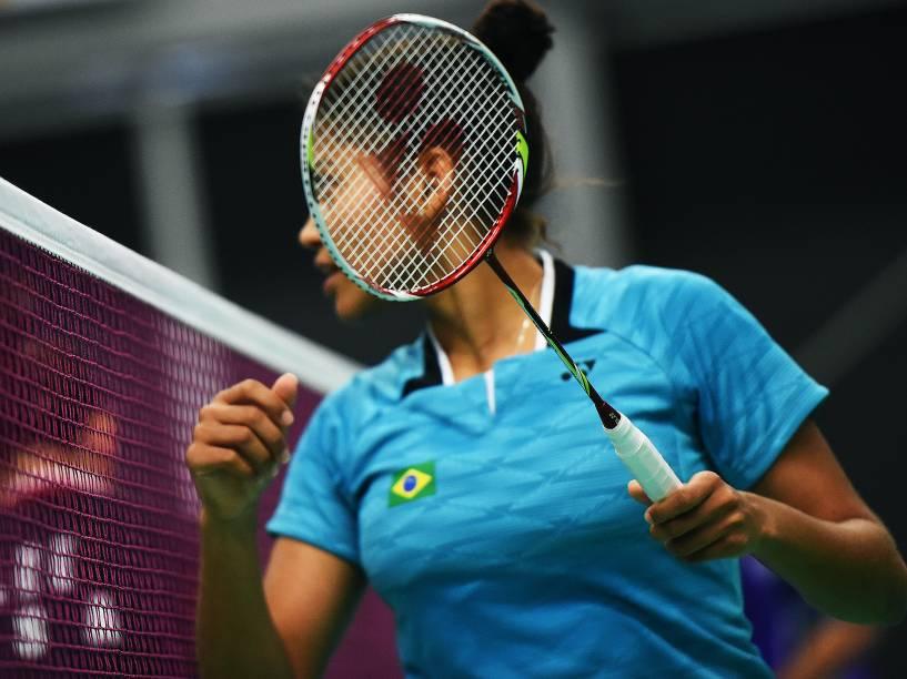 As irmãs Lohaynny Vicente e Luana Vicente disputam a final de Badminton dos Jogos Pan-Americanos, em Toronto, Canadá