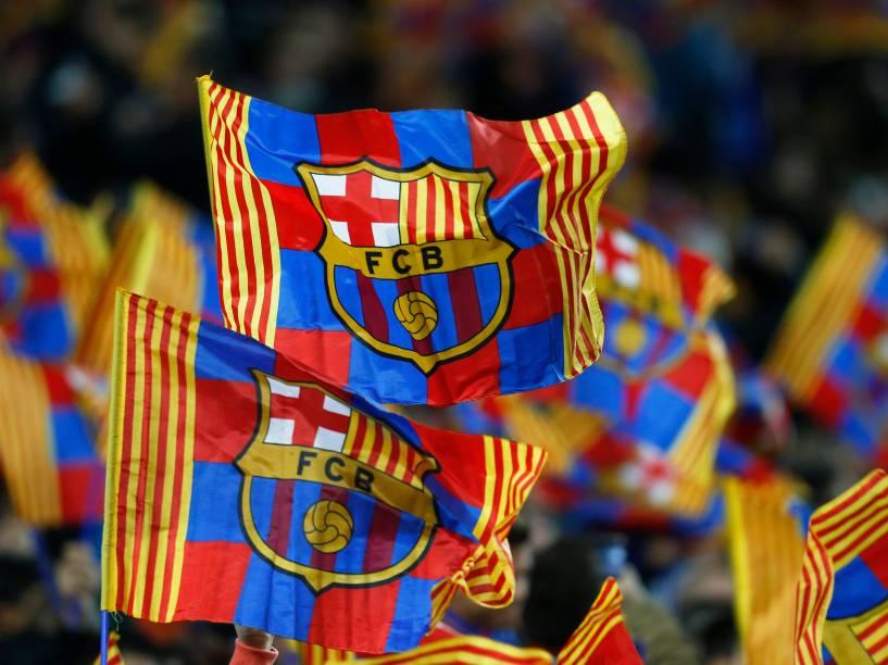 Torcida do Barcelona na partida contra o Manchester City, no Camp Nou pela da Liga dos Campeões