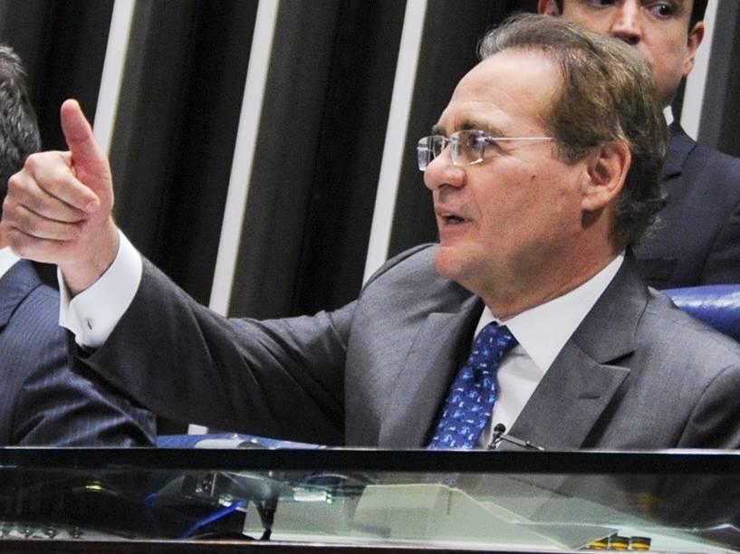 Senador Renan Calheiros (PMDB-AL), durante cerimônia de posse no plenário da Casa - 01/02/2015