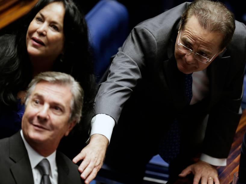 Senadores pelo estados de Alagoas Renan Calheiros (PMDB) e Fernando Collor (PTB), durante cerimônia de posse no plenário da Casa - 01/02/2015
