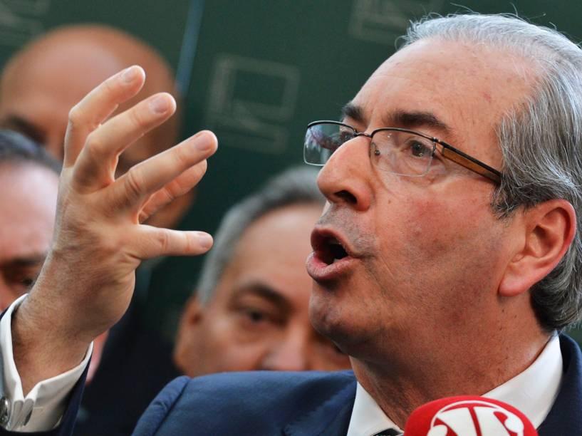 O ex-presidente da Câmara dos Deputados, Eduardo Cunha, anuncia rompimento com o governo, durante entrevista - 17/07/2015