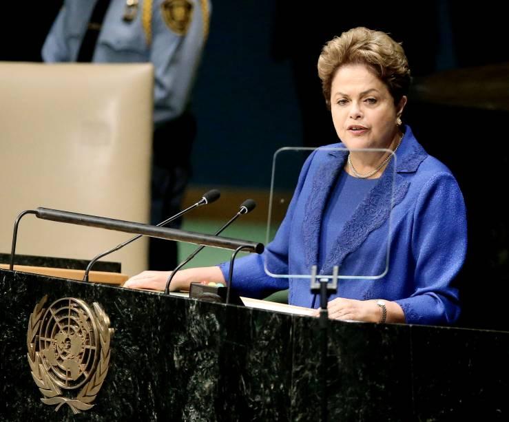 Presidente Dilma Rousseff, durante discurso na Assembleia Geral das Nações Unidas, que abriu o debate, por tradição, seguida pelos Estados Unidos - 24/09/2014