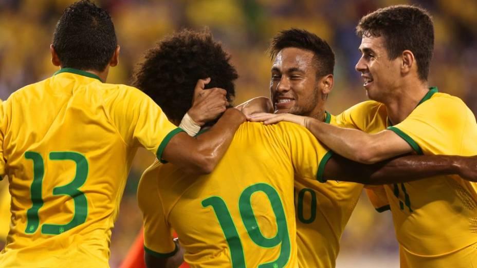 Lance do amistoso entre Brasil e Equador, em Nova Jersey