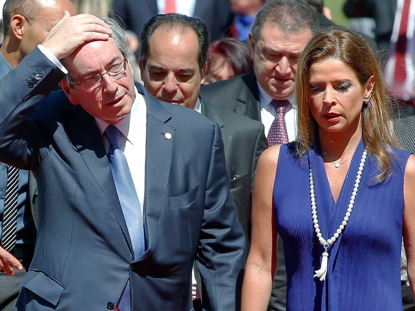 Eduardo Cunha (PMDB-RJ), e a mulher Claudia Cruz, recebem a visita do príncipe japonês Akishino, filho mais novo do imperador do Japão