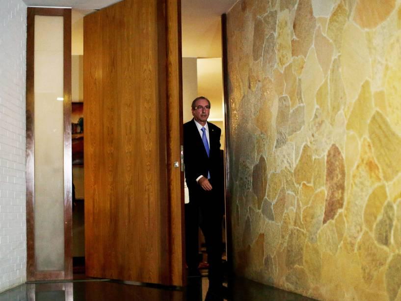 Eduardo Cunha (PMDB-RJ) concede entrevista coletiva em sua residência oficial, em Brasília (DF)