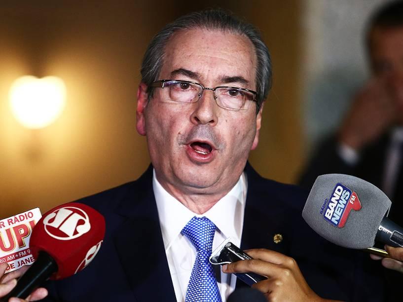 Eduardo Cunha (PMDB-RJ) concede entrevista coletiva em sua residência oficial, em Brasília (DF), sobre a decisão do Supremo Tribunal Federal (STF) de afastá-lo da presidência da Câmara e também suspender seu mandato eletivo como deputado federal - 05/05/2016