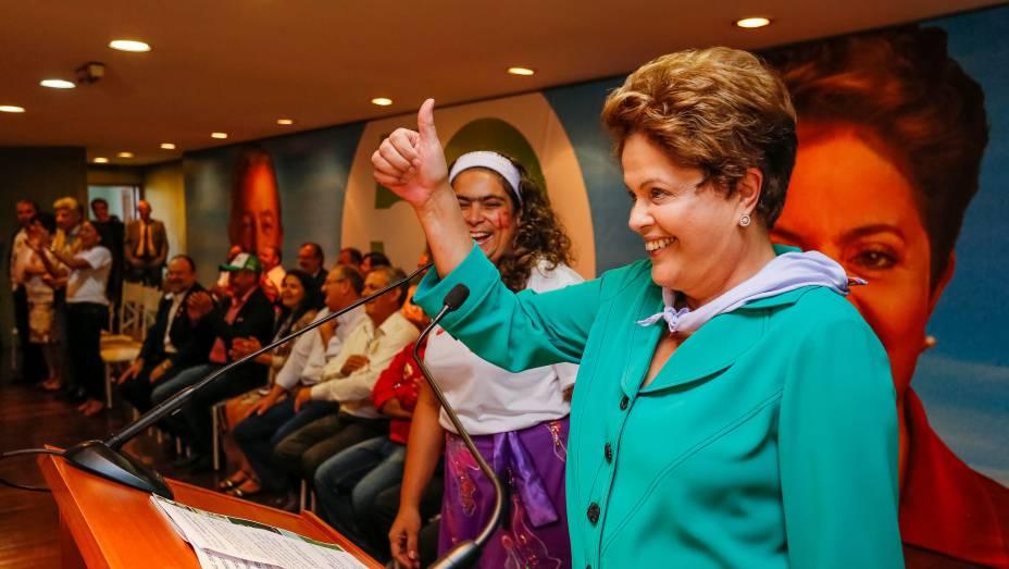 Dilma Rousseff no encontro com trabalhadores da agricultura, na Contag, em Brasília - 28/08/2014