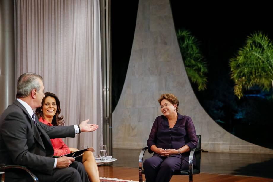 Dilma Rousseff durante a entrevista para Record em Brasília (DF) - 18/09/2014