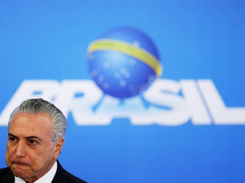 O presidente da República em exercício, Michel Temer, realiza pronunciamento no Palácio do Planalto, em Brasília (DF) - 06/06/16