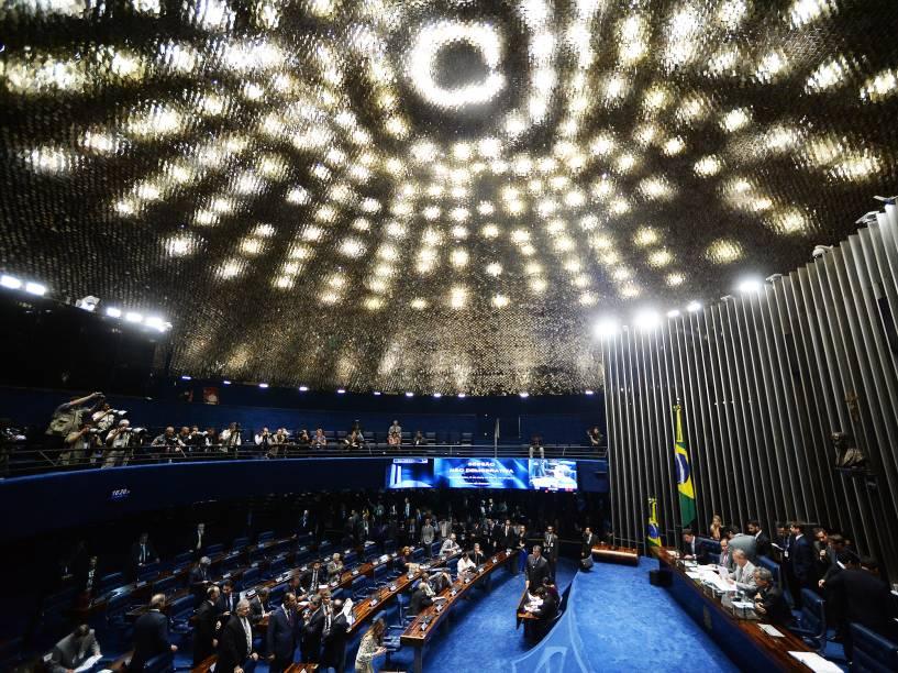 O presidente do Senado, Renan Calheiros (PMDB-AL), preside sessão no plenário da Casa, em BrasÌlia (DF), para discutir decisão do presidente interino da Câmara dos Deputados, Waldir Maranhão (PP-MA), de que as sessões que resultaram na autorização da abertura do processo de impeachment da presidente Dilma Rousseff,sejam anuladas e que uma nova sessão seja realizada no prazo de cinco sessõs a partir da devolução do processo do Senado - 09/05/2016