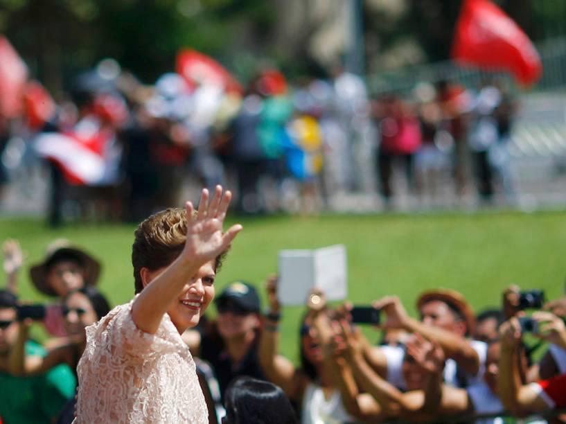 A presidente Dilma Rousseff durante cerimônia de posse em Brasília