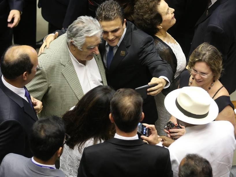 O presidente do Uruguai, José Mujica, é visto no Congresso Nacional, no plenário da Câmara dos Deputados, durante a posse de Dilma Rousseff - 01/01/2015