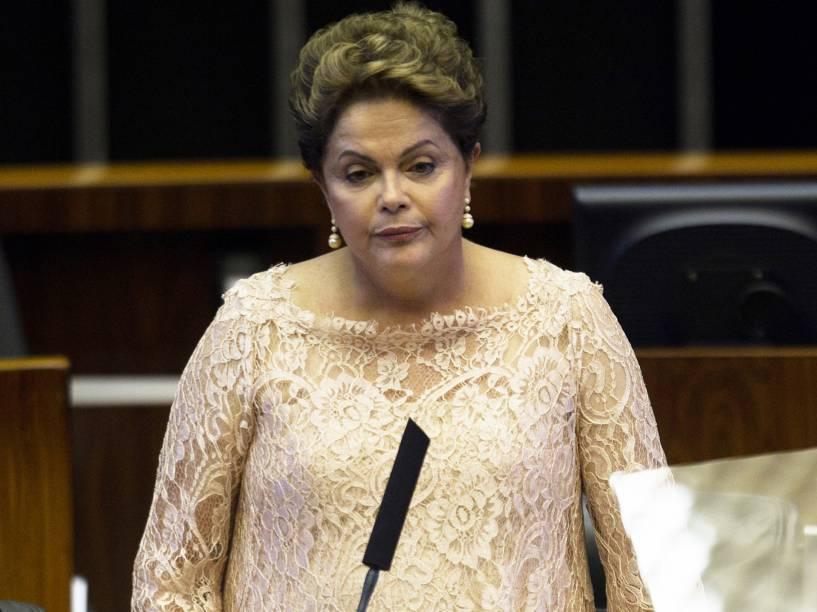 A presidente Dilma Rousseff discursa durante cerimônia de posse de seu segundo mandato, em Brasília - 01/01/2015