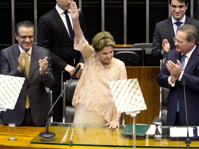 Da esquerda para a direita, o presidente da Câmara, Henrique Alves, a presidente da República Dilma Rousseff, o presidente do Congresso, Renan Calheiros, e o vice-presidente da República, Michel Temer, durante a cerimônia de posse do segundo mandato de Dilma - 01/01/2015