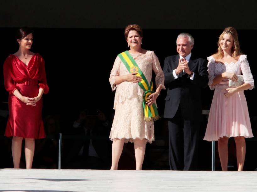 A presidente Dilma Rousseff ao lado do vice Michel Temer durante cerimônia de posse, em Brasília (DF) - 01/01/2015