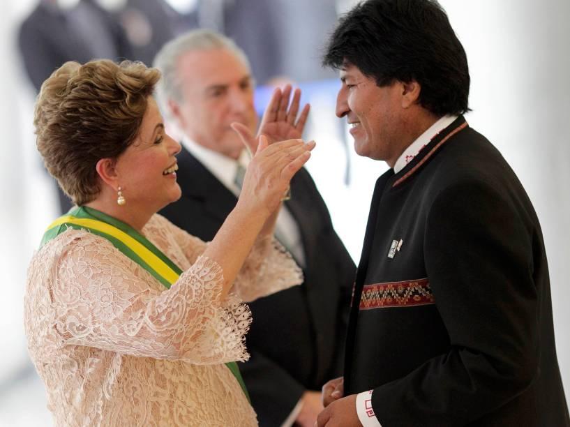 Presidente Dilma recebe os cumprimentos do presidente boliviano Evo Morales - 01/01/2015